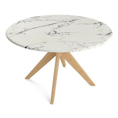 50 Elysian Round Dining Table With Faux Marble Top Natural Aeon