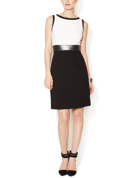 Jersey Colorblocked Sheath Dress with Faux Leather Trim by Tahari ASL at Gilt