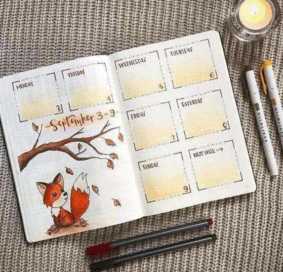 C'est l'automne dans votre bujo ! (page par @authentic.ampersand)