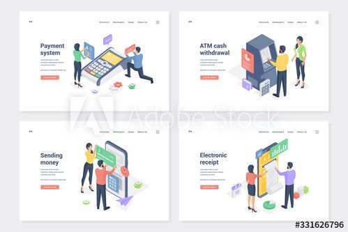 Cash Transactions Bank Services Isometric Landing Page Templates Set Ad Ad Bank Services Cash Transactions Page Template Landing Page Templates