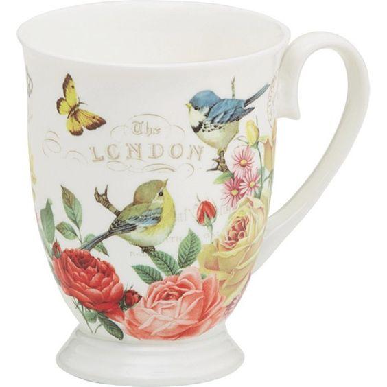 Diese Kaffeetasse ist ein echter Blickfang! Mit den Vögeln, Blumen und Schmetterlingen verbreitet sie gleichzeitig eine frühlingshafte Atmosphäre!