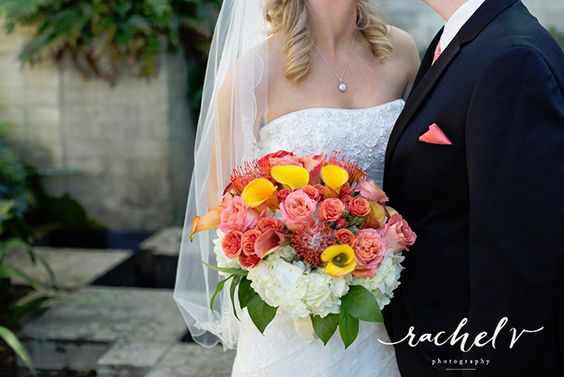 Bridal bouquet in sunset hues. (Flowers by Lee Forrest Design, photo by: Rachel V Photography)