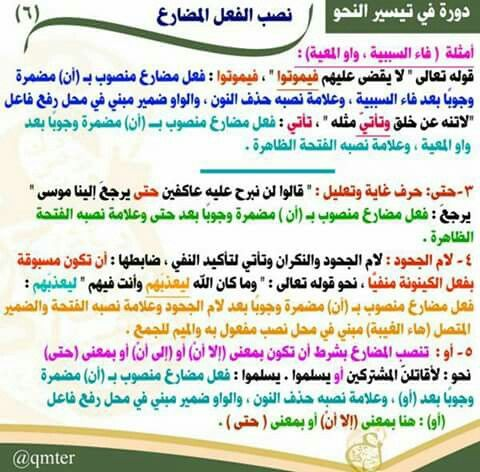 اللغة العربية نصب الفعل المضارع Learn Arabic Language Arabic Language Arabic Lessons