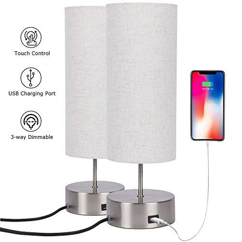 Touch Control Table Lamp Bedside With Usb Charging Port 3 Way Dimmable Touch Lamps With Sand Nickel Base And C In 2020 Touch Lamp Night Stand Light Bedside Table Lamps