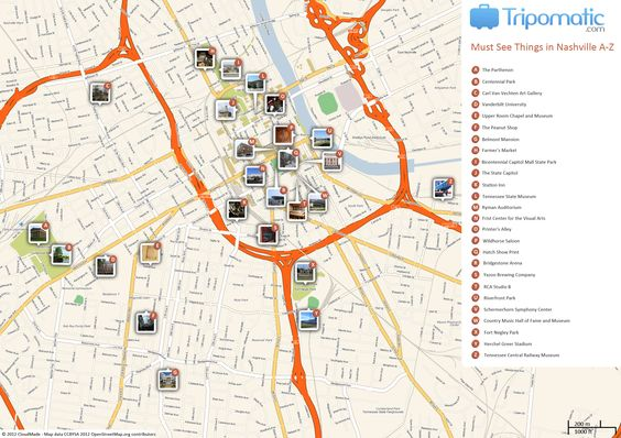 Free Printable Map of Nashville attractions from Tripomatic.com. Get the high-res version at http://www.tripomatic.com/United-States-of-America/Tennessee/Nashville/#tourist-map