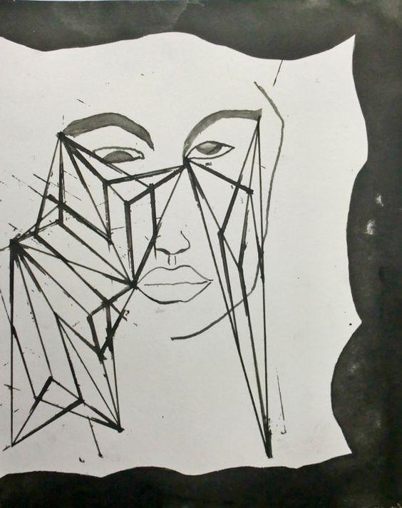 Original Stylish Line Drawing 9.5x11.75 by maaikevannierop on Etsy