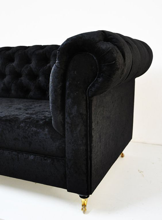 I am just crazy about chesterfields lately [black velvet chesterfield sofa by namedesignstudio