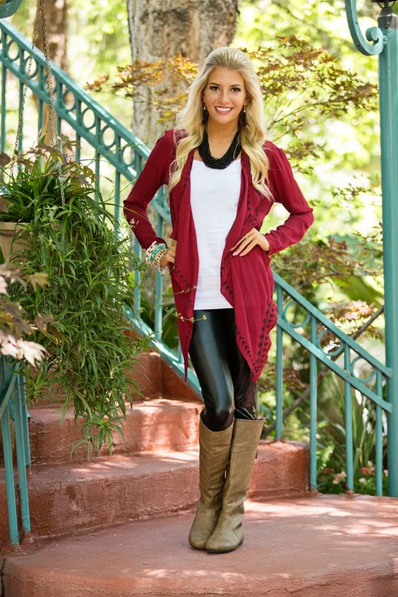 Modern Vintage Boutique - Tribal Pattern Embroidered Lightweight Cardigan Burgandy, $44.00 (http://www.modernvintageboutique.com/tribal-pattern-embroidered-lightweight-cardigan-burgandy.html)