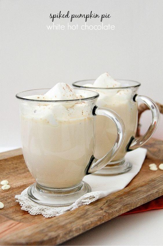 Spiked Pumpkin Pie White Hot Chocolate #SweetNLowStars #ad
