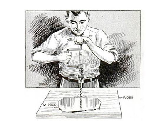 A trick from the May 1934 issue of Popular Mechanics: Take a piece of mirror and position it against the drill bit. Then adjust the position of the drill until the bit and its reflection combine to appear in a perfectly straight line.