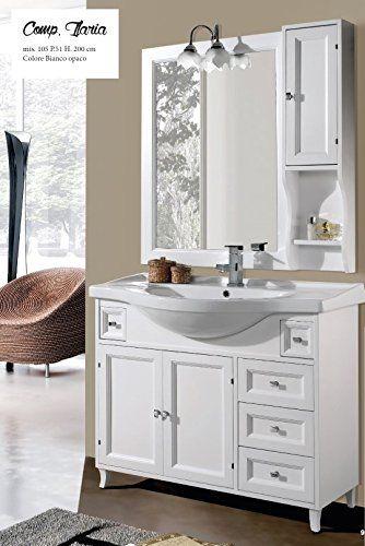 Specchio Bagno Bianco.Mobile Sottolavabo Con Lavabo E Specchio Ilaria 105 Cm Per Arredo