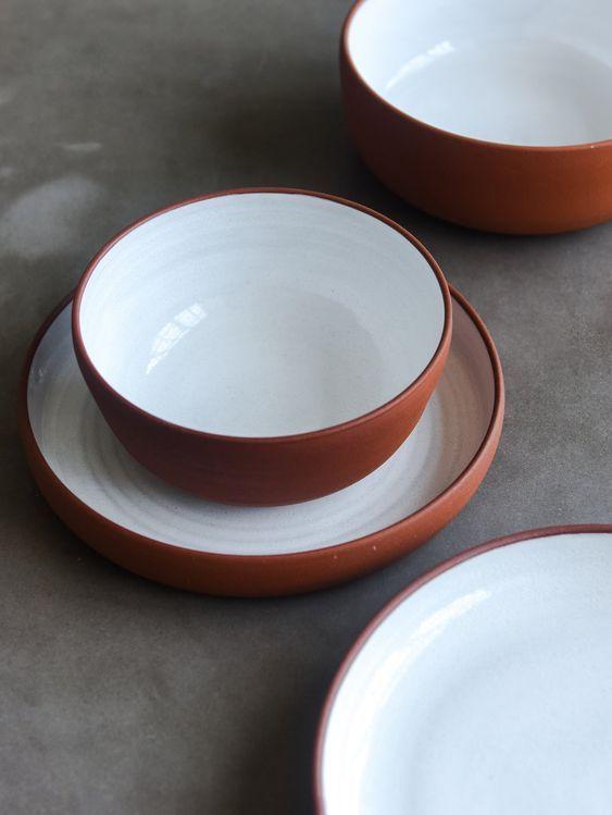 Large Handmade Terracotta Ceramic Plate White Ceramic Dinnerware Set Ceramic Tableware Dinnerware