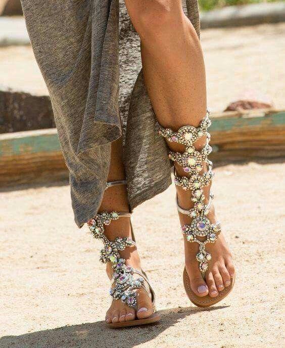 Boho jeweled gladiator sandals More