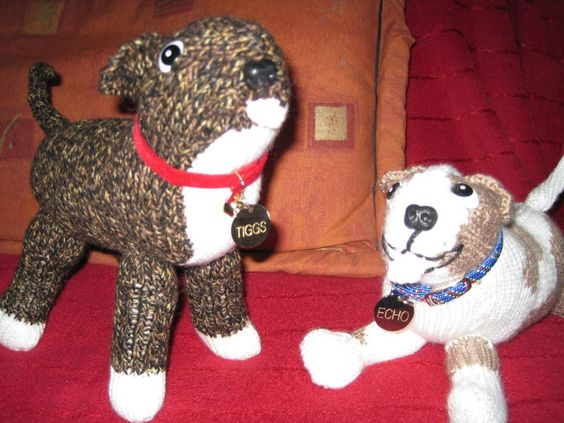 Battersea Dogs Home Knitting Pattern Dog Coat : Knitted Staffies - Battersea Dog and Cat home pattern Cute Creatures Pint...
