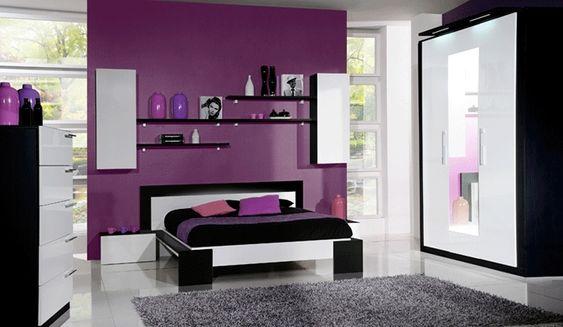 Chambre violet maison id es int rieur pinterest - Deco chambre rouge et blanc ...