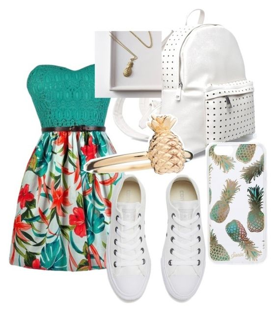 """""""Pineapple Outfit"""" by ambyclark on Polyvore featuring Converse, 7 Chi, Sonix and Rachel Jackson"""