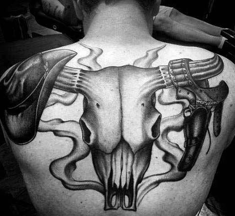 70 Bull Craneo Disenos De Tatuajes Para Los Hombres Las Ideas Occidentales Tatuajeclub Com Bull Skull Tattoos Bull Skulls Back Tattoos For Guys