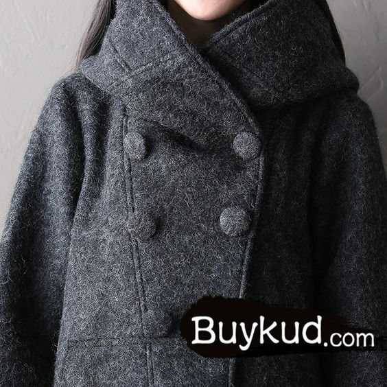 Women winter long woolen coat - Tkdress  - 5