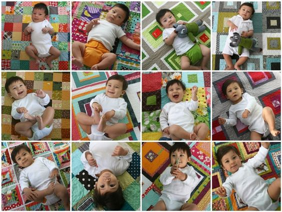 """This blogging quilter mom took a photo of her baby each month on a different quilt, then created a """"first year"""" collage. Seen on Film in the Fridge. Love this idea!"""