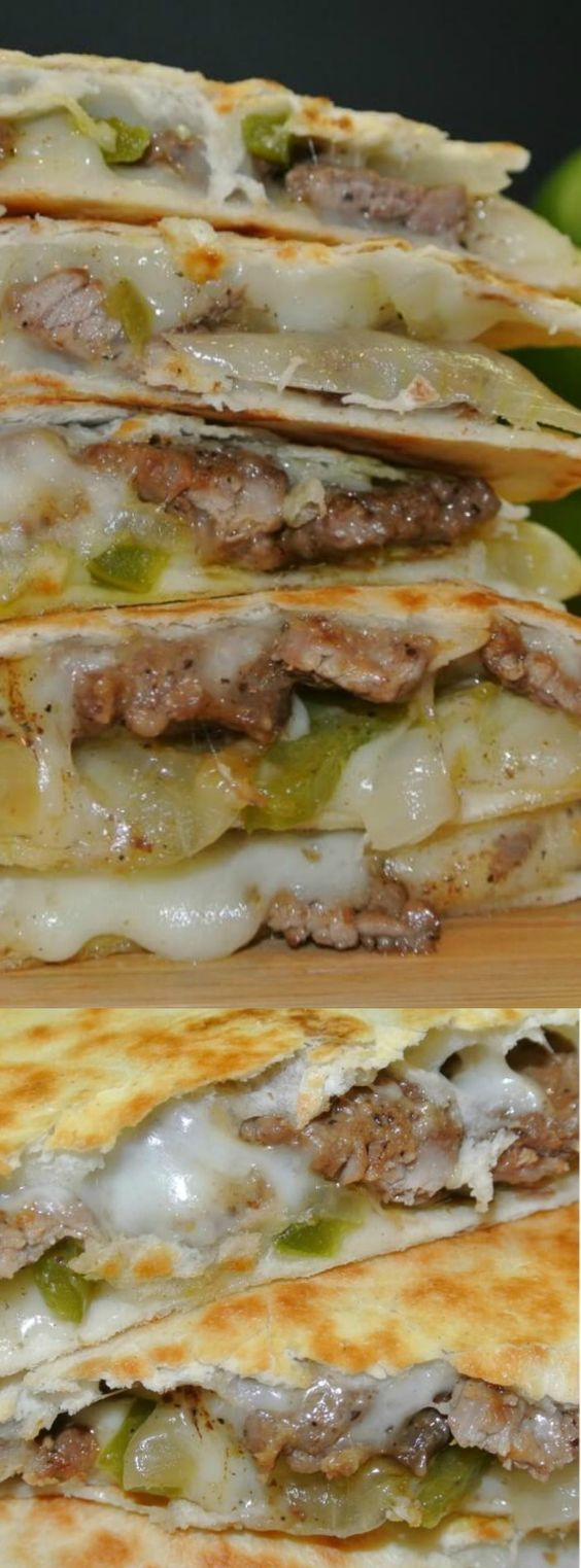 These EASY Cheese Steak Quesadillas from Easy Peasy Pleasy are a dinner dream come true! It doesn't get much easier than cooking up some delicious steak and peppers and throwing it on a tortilla with your favorite kind of cheese.: