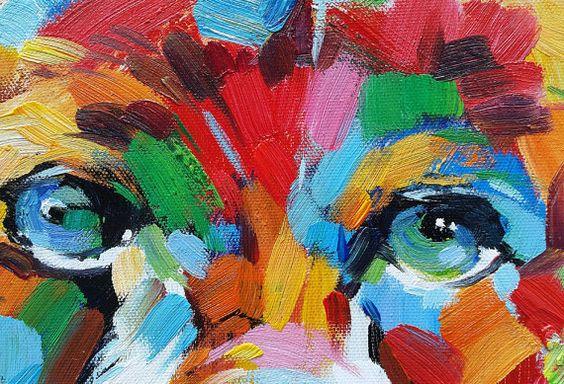Kleurrijke Grizzly Bear Hand geschilderde door FolkcultureGallery