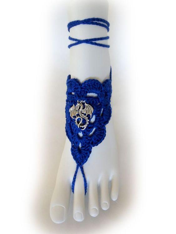 Dragon Barefoot Sandals. Blue Crochet Foot Jewelry. Khaleesi Accessory. Pair.