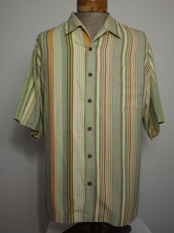 Tommy Bahama Silk Shirt Sz XL Green Gray Beige Umber Stripe w Geometric Brocade #TommyBahama #ButtonFront #CampShirt #Camp #Shirt