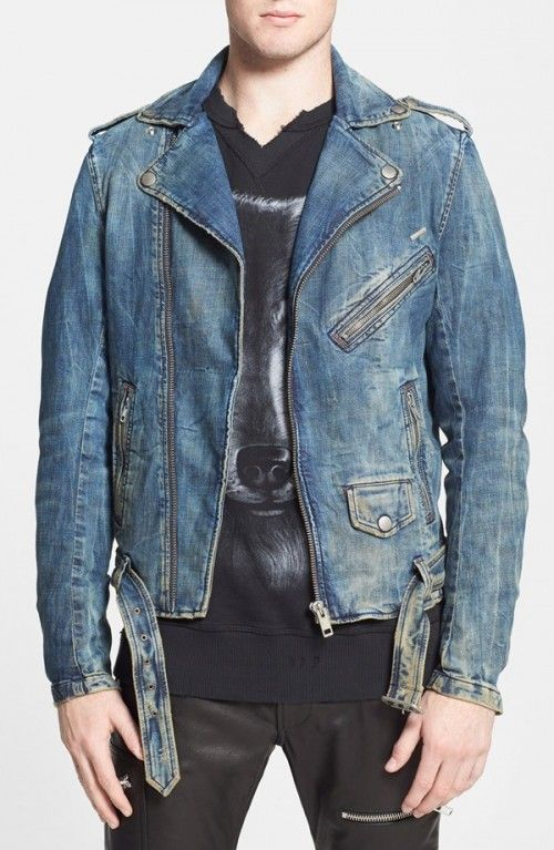 Guess Los Angeles fitted denim jacket, biker style with zips and quilted detailing, size m, zip fastening to one side with logo branding detail on the back of the jacket, zip detailing to the arms and.