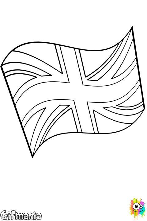 Aprende la bandera de Reino Unido con dibujos para colorear