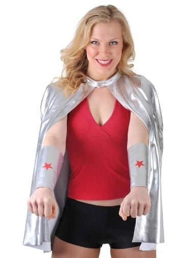 Super Hero silver fabric cape and armbands.