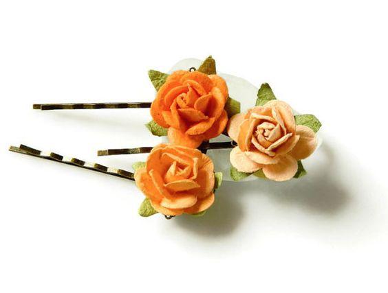 Fall Autumn Orange Bobby Pins Flower Hair Pins by MsBsDesigns, $14.00