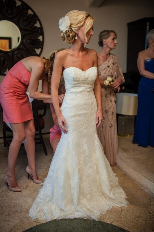 Fit flare lace wedding dress perfect for a destination for All lace fit and flare wedding dress