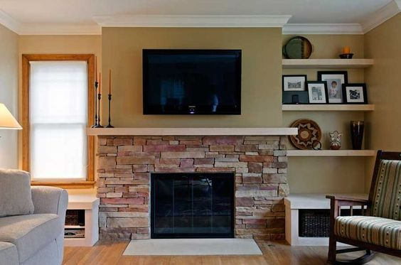 Stone Fireplace Small Room Half Wall Google Search