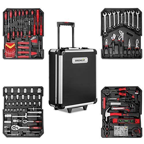 Greencut Tools 819 Valise Outils 819 Pieces Chariot Acier Aluminium Avec Roulettes En 2020 Valise Outils Malette Outils Outils