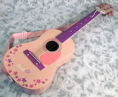 Sold 2004 Barbie Pink Acoustic Guitar w/ Barbie Case from Mattel Inc