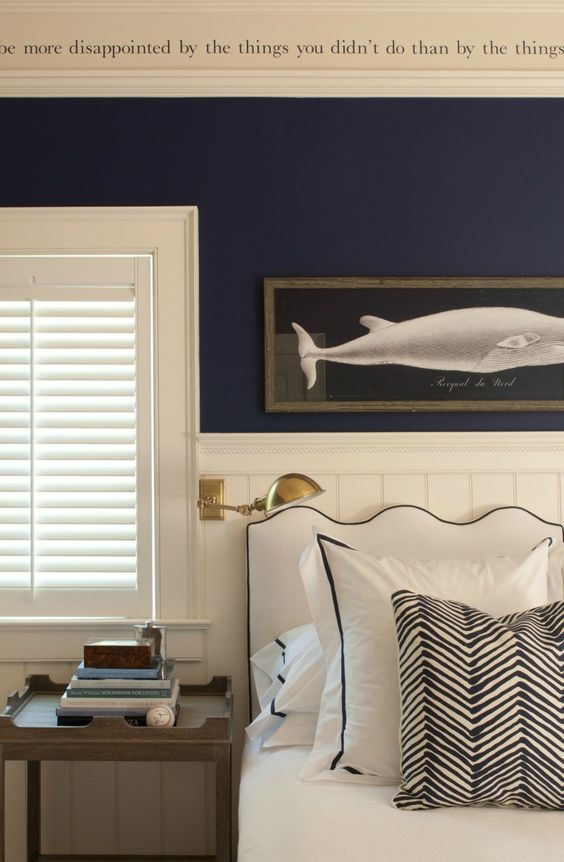 Love the contrast of the wall/navy/cream!: