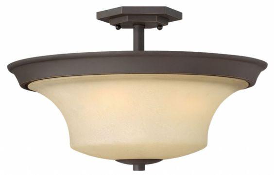 """UL Bedrooms. Qyt: 3, 17""""D x 10.8""""H, Bronze w/ amber glass, Hinkley Lighting - Brantley 4632OZ"""