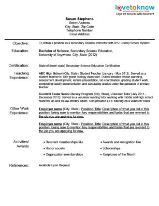Samples Of Teacher Resume | Resume Sample For Physical Education