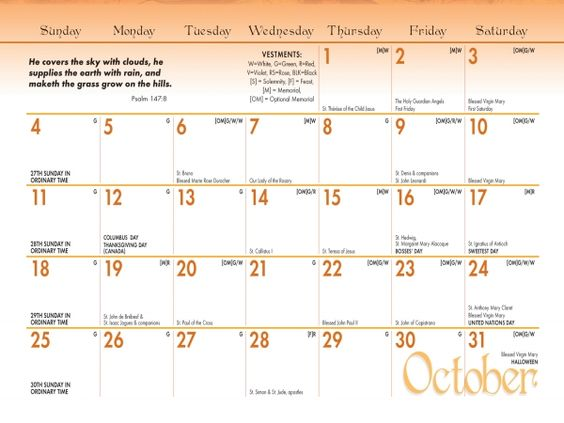 Catholic Calendar 2015