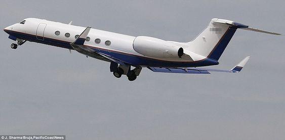 We have liftoff! The couple traveled in luxury in a private jet