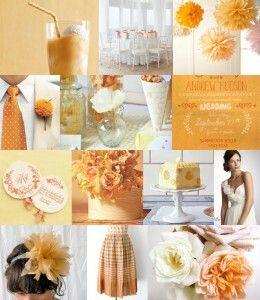 Orange wedding theme. Wish I knew where I could find those bridesmaid dress.