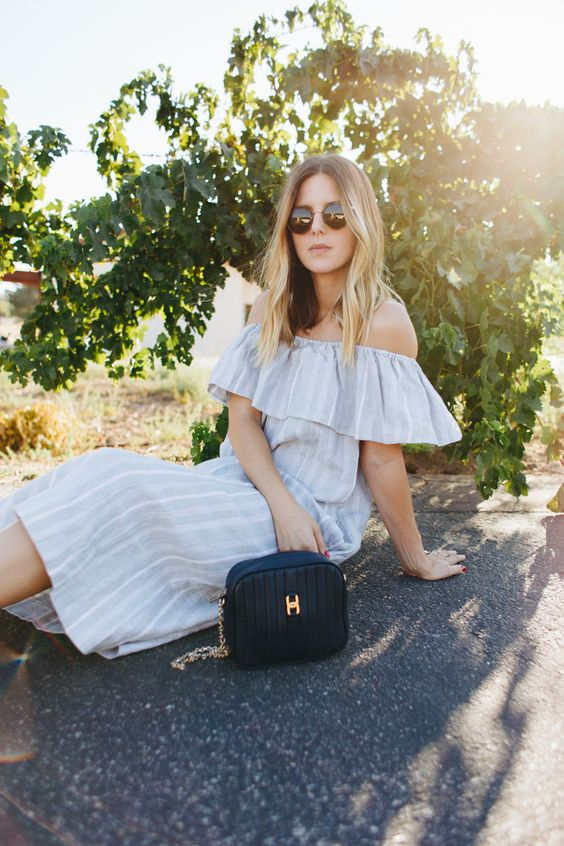 Linen Striped Bardot Dress | www.TakeAim.nu