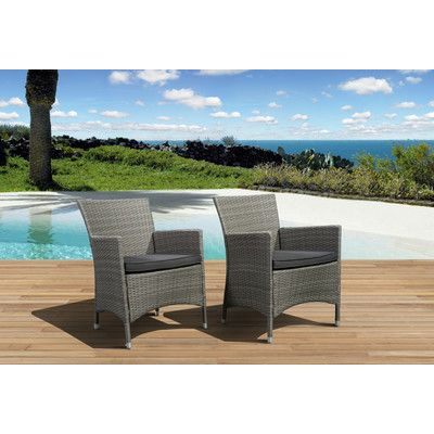 International Home Miami Atlantic Liberty Deluxe Arm Chair with Cushion (Set of 4) Wicker Color: