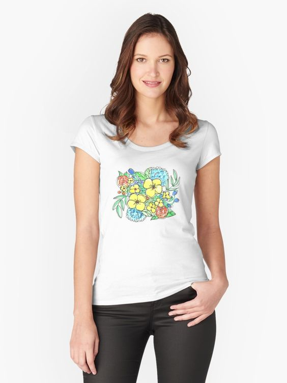 Yellow and Blue Spring Floral Watercolor Women's Fitted Scoop T-Shirt