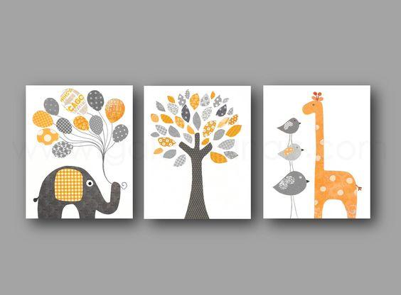 chambre denfant et bebe, orange gris  Bebe, Change 3 and Decor