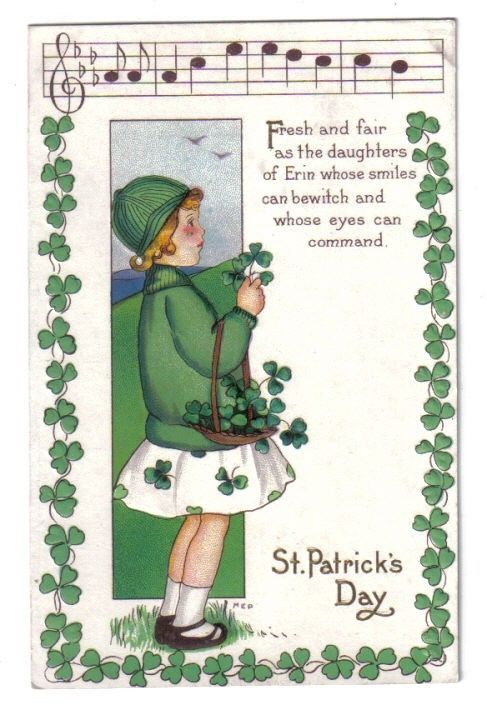 Irish Girl w/ Shamrocks w/ Musical & Shamrock Border~St Patricks Day~Series 403A #StPatricksDay