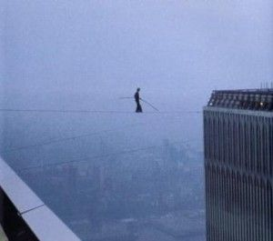 Man on a Wire... a man who walked on a tightrope in 1974 between the World Trade Center Towers.  Brilliant.