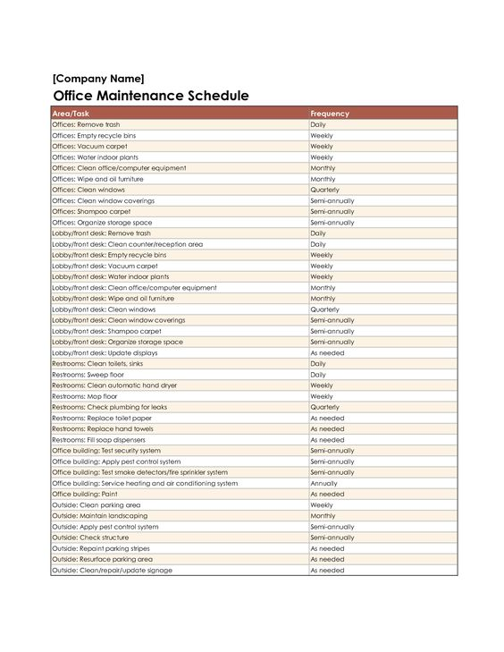 Equipment Maintenance Schedule Template Excel    wwwamazon - maintenance checklist template