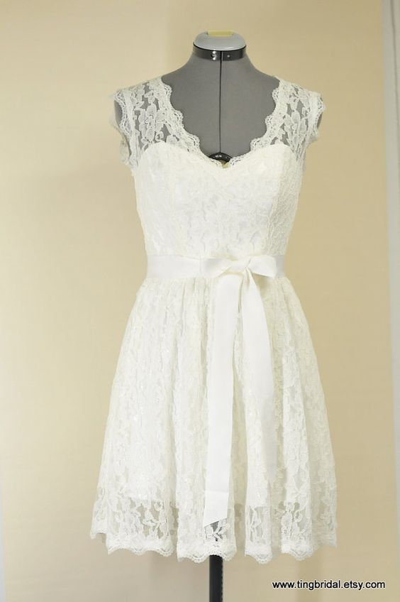 KarenCustom Short Lace Wedding Dress inspired by by TingJohnson, $700.00