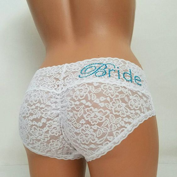 WHITE Lace Cutie Booty w/ Something Blue Bride  by BluIntimates